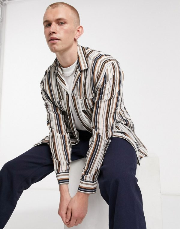 ASOS DESIGN overshirt in natural linen look stripe with chest pockets-Brown