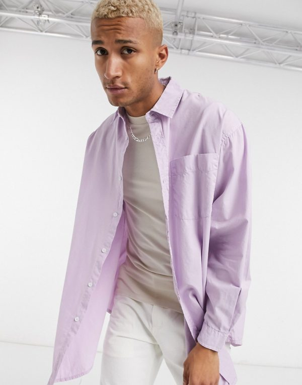 ASOS DESIGN overshirt in washed lilac-Purple