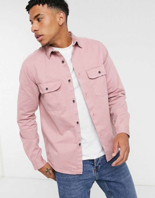 ASOS DESIGN overshirt with cord collar in dusky pink