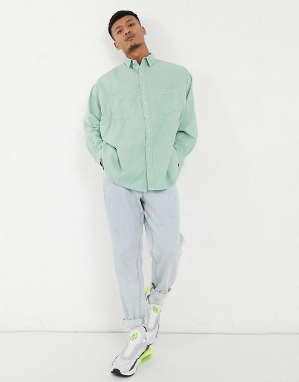 ASOS DESIGN oversized boxy shirt in washed sage green