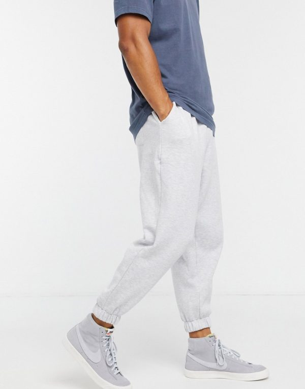 ASOS DESIGN oversized cropped sweatpants in white heather