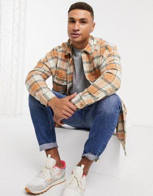 ASOS DESIGN oversized dropped shoulder wool mix check shirt in orange highlight