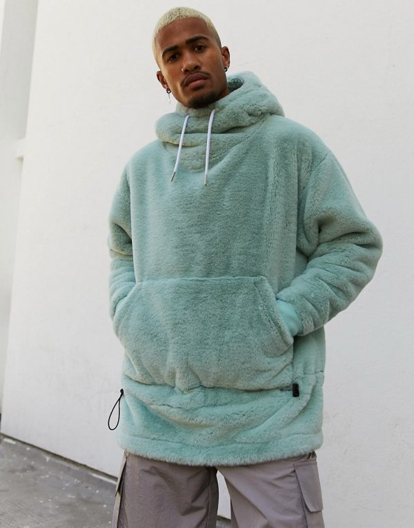 ASOS DESIGN oversized faux fur hoodie with funnel neck & bungee details in blue gray-Green