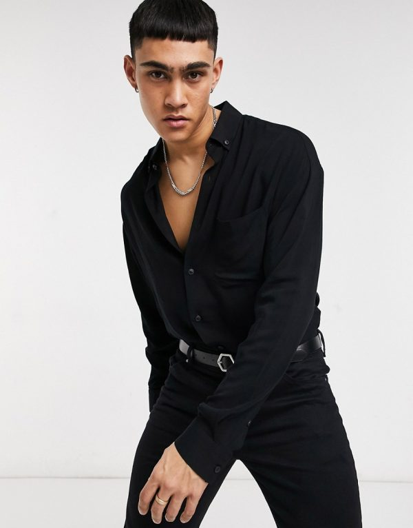 ASOS DESIGN oversized fit button collar shirt in viscose in black