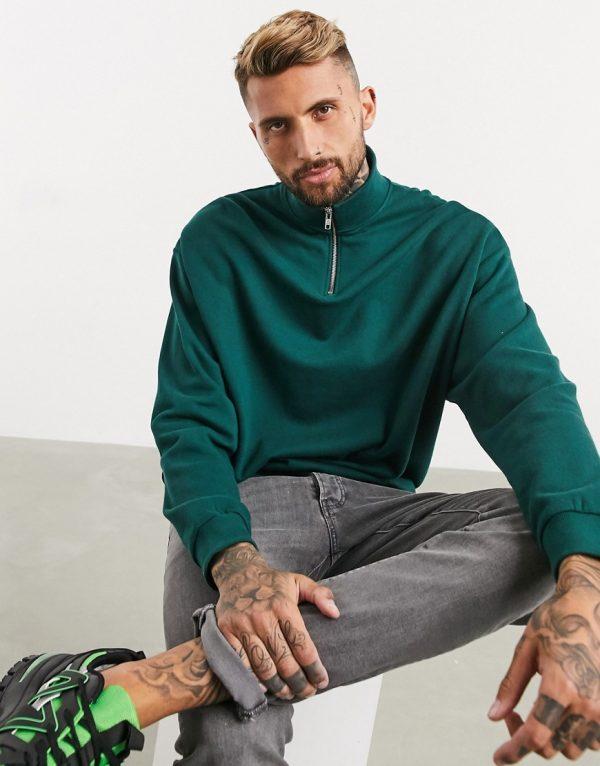ASOS DESIGN oversized half zip sweatshirt in green