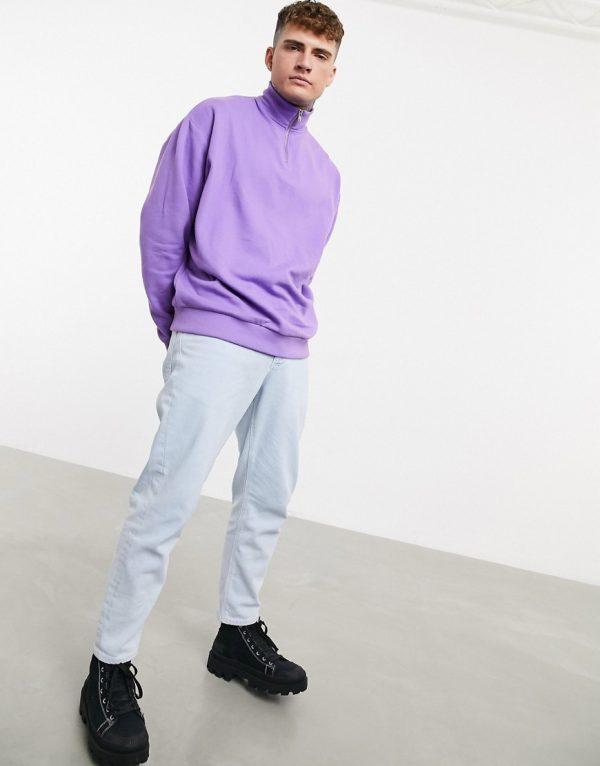 ASOS DESIGN oversized half zip sweatshirt in purple-Blue
