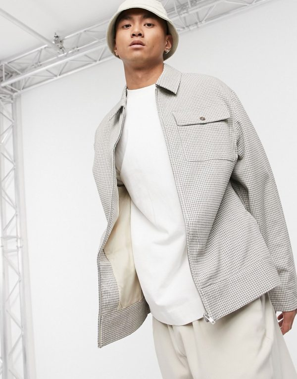 ASOS DESIGN oversized harrington jacket in ecru mini houndstooth check-White