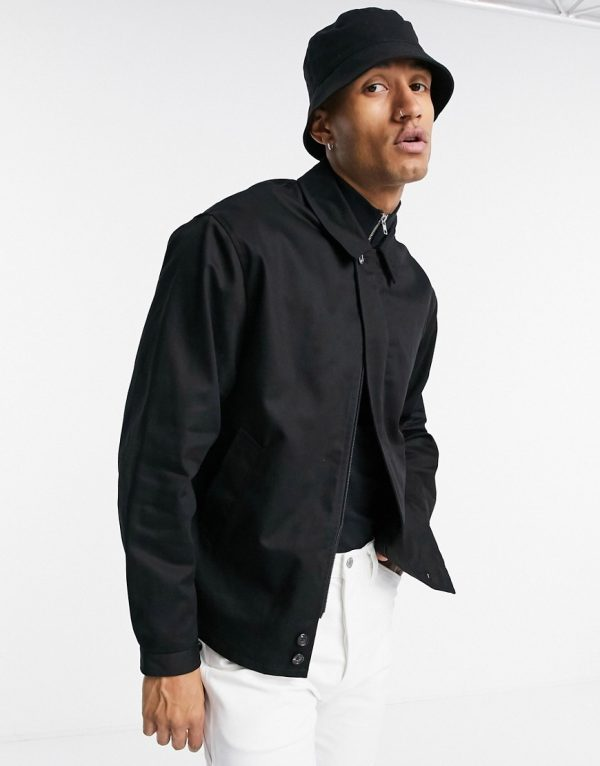 ASOS DESIGN oversized harrington jacket with storm flap in black