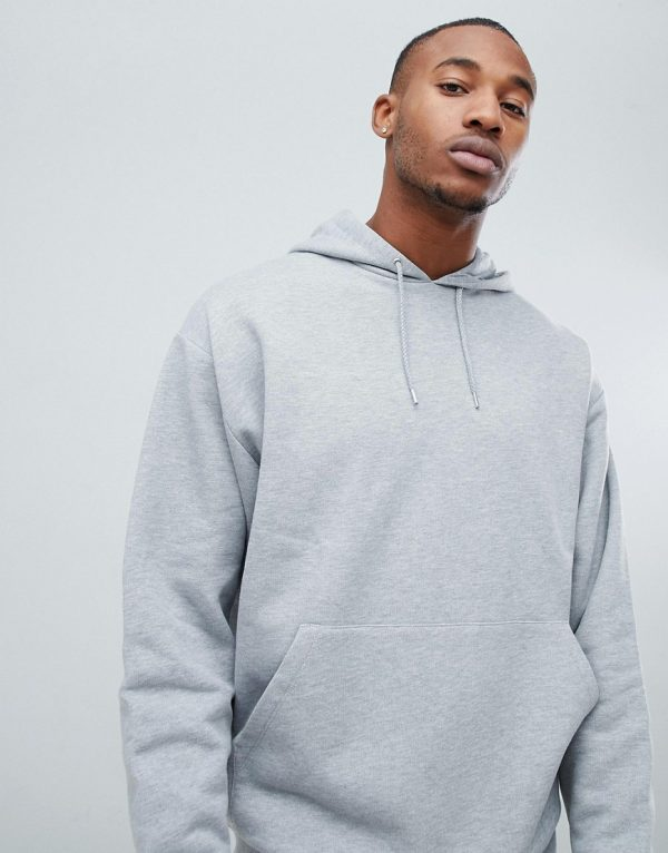ASOS DESIGN oversized hoodie in gray marl-Grey