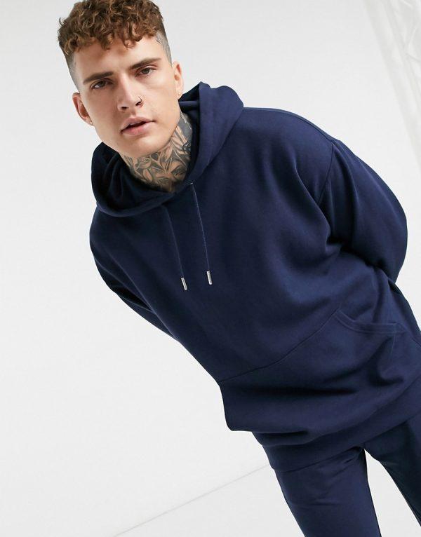 ASOS DESIGN oversized hoodie in navy