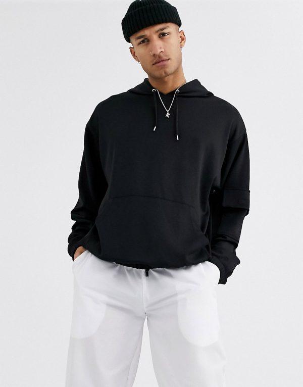 ASOS DESIGN oversized hoodie in scuba fabric-Black