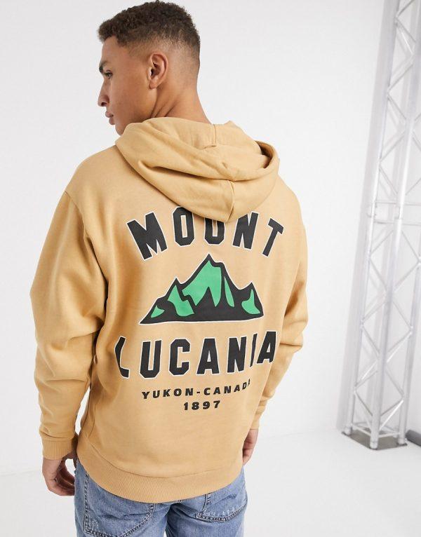 ASOS DESIGN oversized hoodie with back print in beige