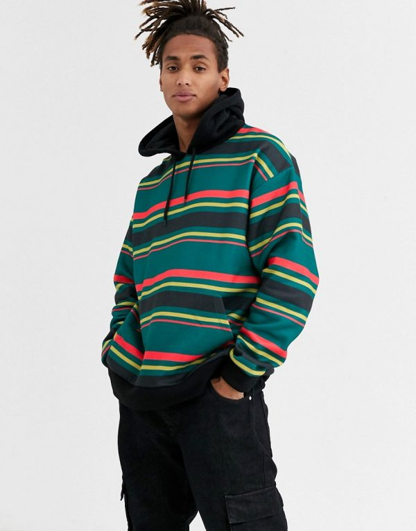 ASOS DESIGN oversized hoodie with multi stripes-Green