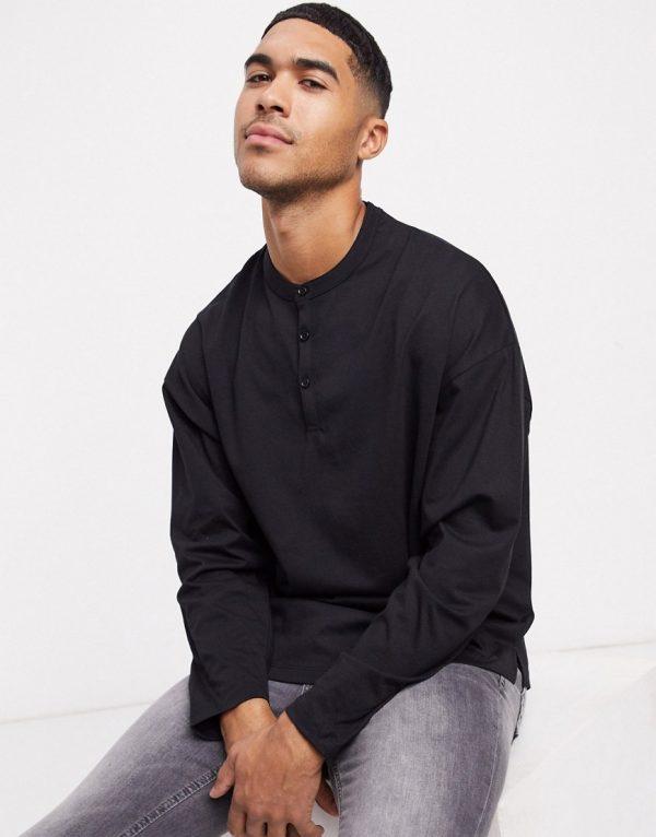 ASOS DESIGN oversized long sleeve t-shirt with grandad neck in black