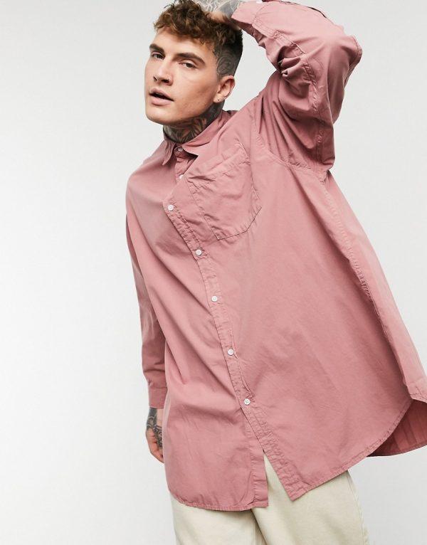 ASOS DESIGN oversized longline shirt in dusky pink