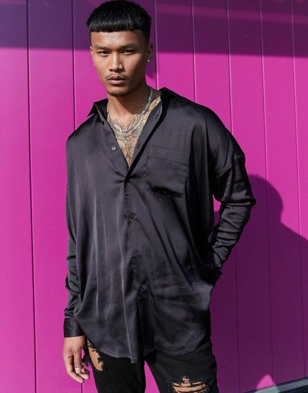 ASOS DESIGN oversized satin shirt in black