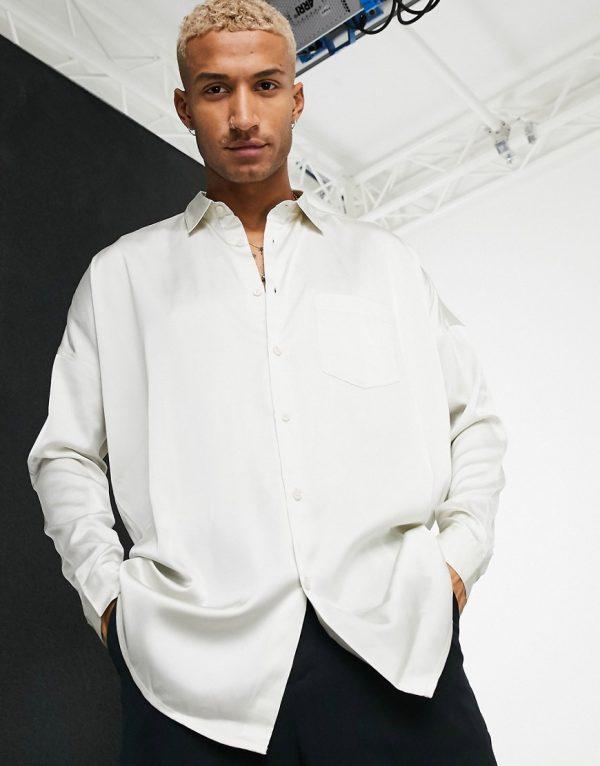 ASOS DESIGN oversized satin shirt in champagne-Beige
