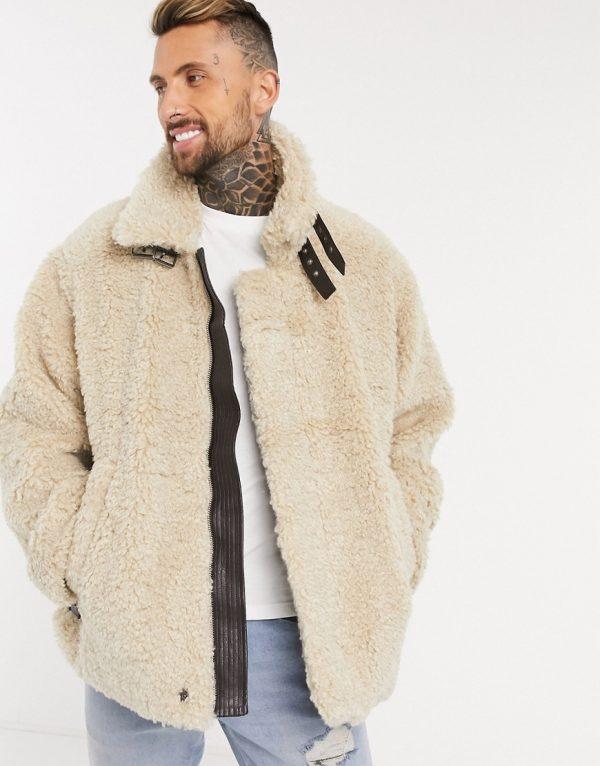 ASOS DESIGN oversized sherpa aviator jacket in stone-Neutral