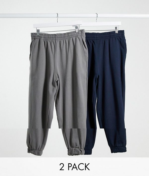 ASOS DESIGN oversized sweatpants 2 pack in gray/navy-Multi