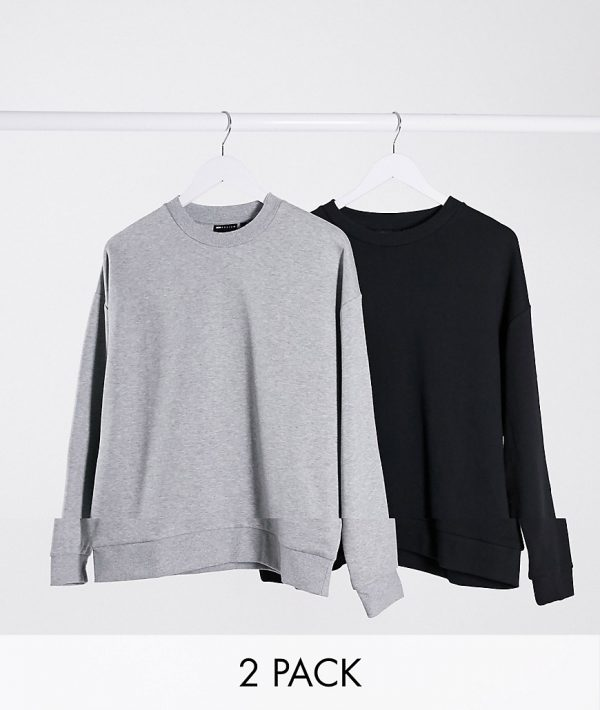 ASOS DESIGN oversized sweatshirt 2 pack black/gray marl-Multi