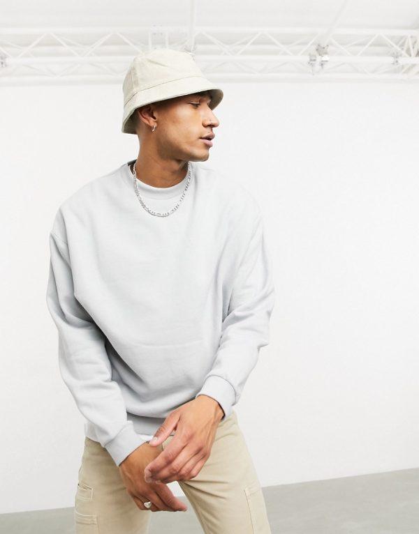 ASOS DESIGN oversized sweatshirt in gray