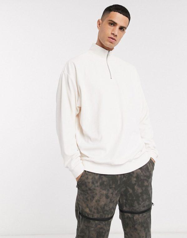 ASOS DESIGN oversized sweatshirt in velour with turtleneck in off white