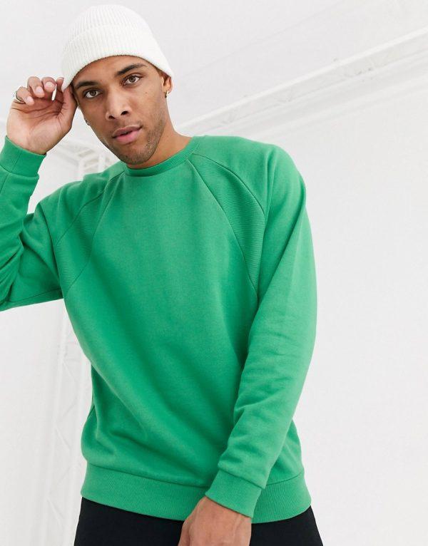 ASOS DESIGN oversized sweatshirt with rib detail-Green