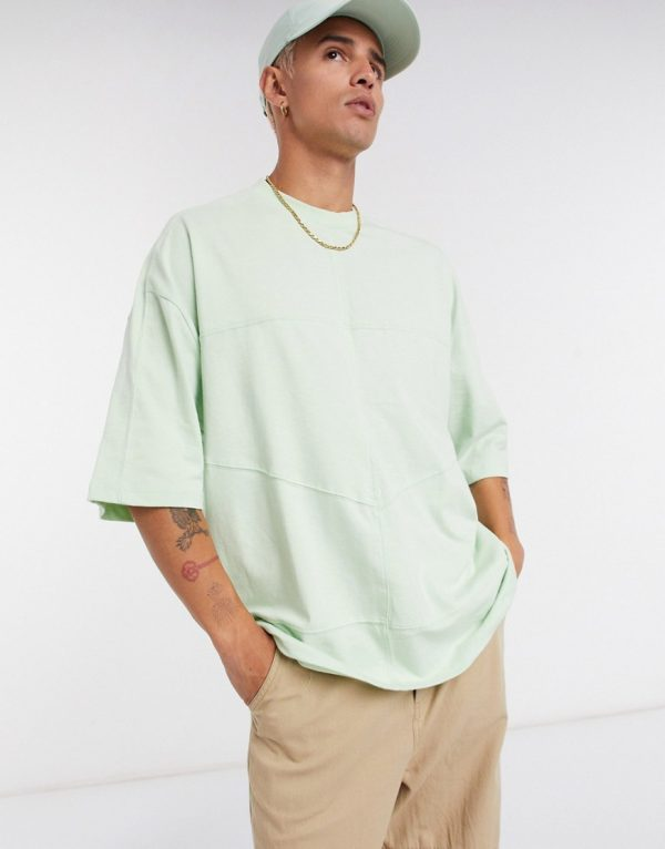 ASOS DESIGN oversized t-shirt in heavyweight cotton with seam detail in green