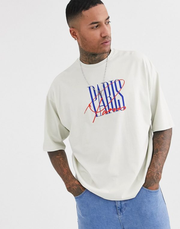 ASOS DESIGN oversized t-shirt in off white with Paris city print-Grey