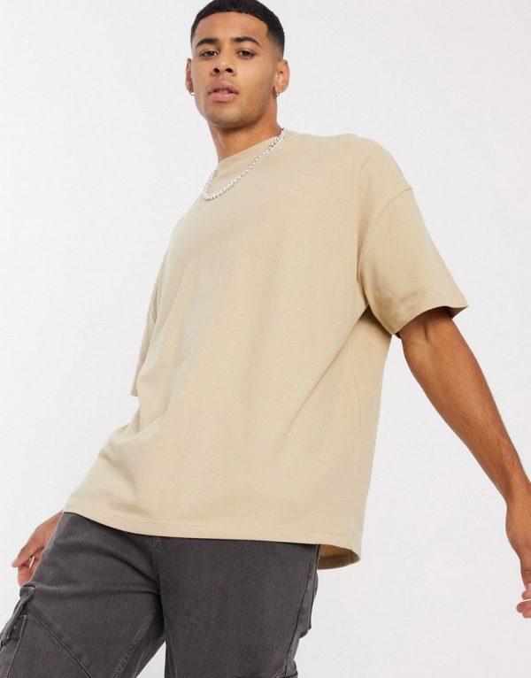 ASOS DESIGN oversized t-shirt in pique in beige-Neutral
