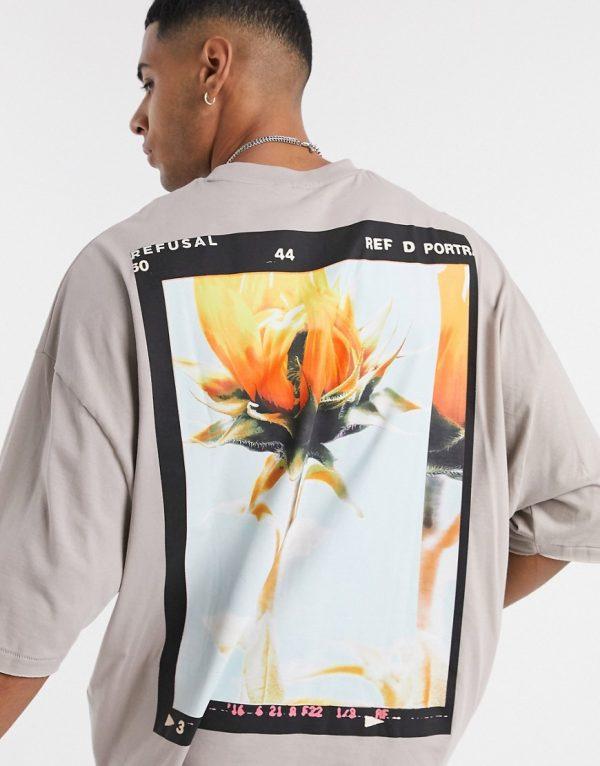 ASOS DESIGN oversized t-shirt with back flower print in dark beige-Brown