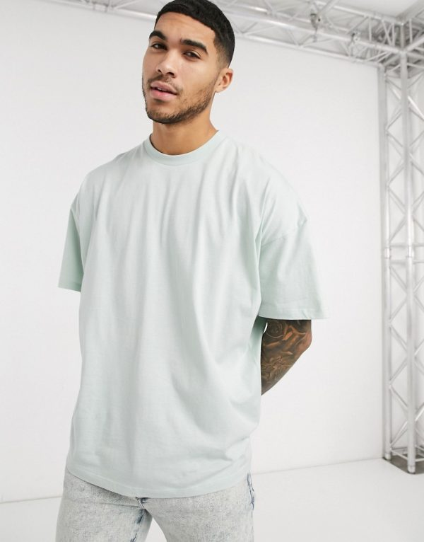 ASOS DESIGN oversized t-shirt with crew neck in pale green-Blues