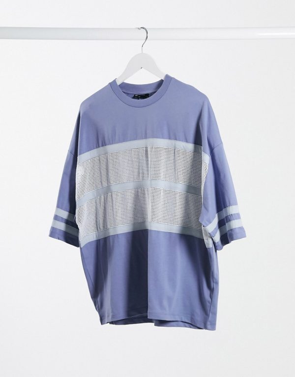 ASOS DESIGN oversized t-shirt with half sleeve and contrast mesh in blue-Blues