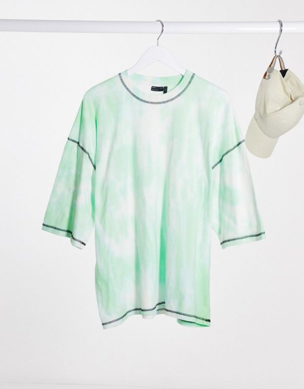 ASOS DESIGN oversized t-shirt with half sleeve and contrast stitching in green tie dye wash