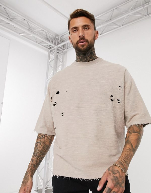 ASOS DESIGN oversized t-shirt with half sleeve and distressing-Black