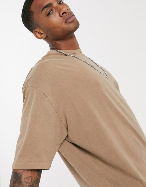 ASOS DESIGN oversized t-shirt with half sleeve in heavyweight tan acid wash-Brown