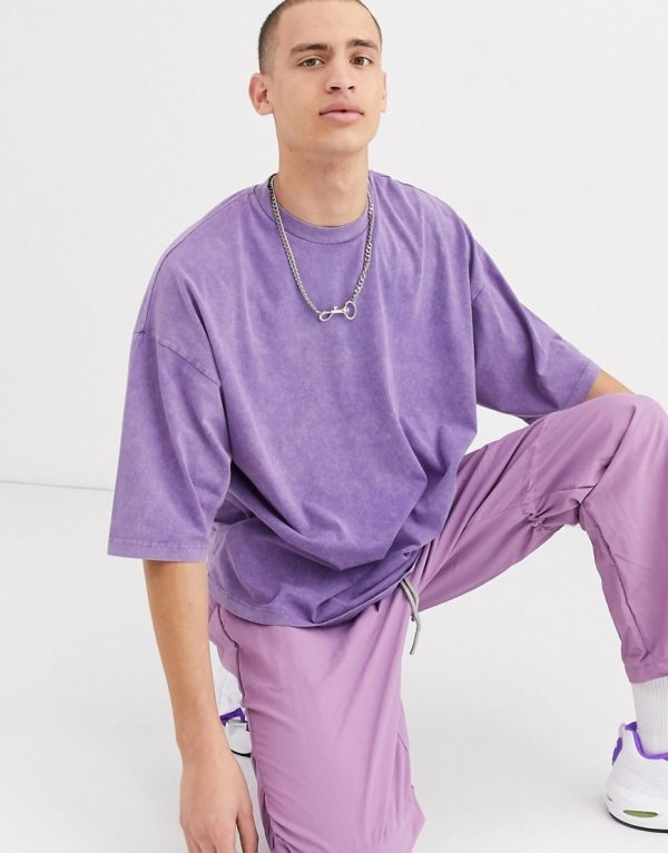 ASOS DESIGN oversized t-shirt with half sleeve with acid wash in purple