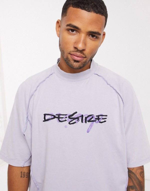 ASOS DESIGN oversized t-shirt with raglan panel and text embroidery in lilac acid wash-Purple