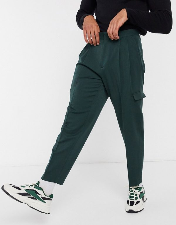 ASOS DESIGN oversized tapered smart pants in dark green with cargo pockets