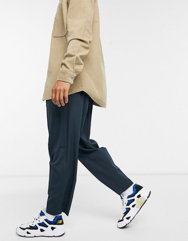 ASOS DESIGN oversized tapered smart trouser in navy