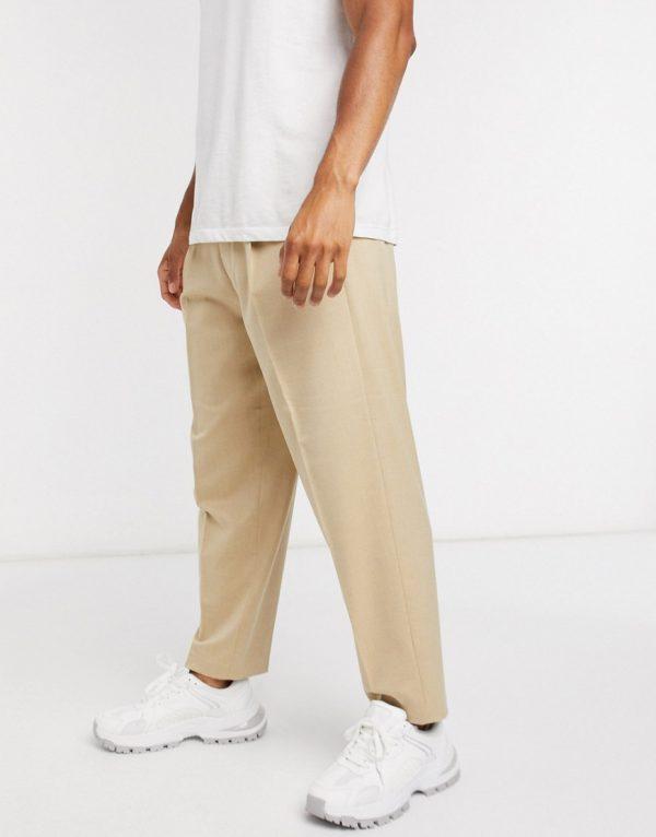 ASOS DESIGN oversized tapered smart trouser in stone-Neutral