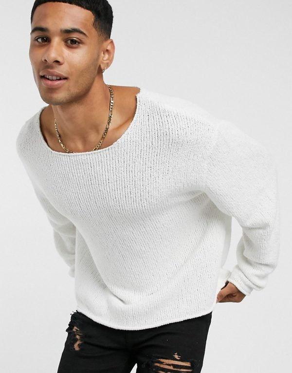 ASOS DESIGN oversized textured sweater in off white