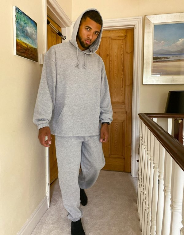 ASOS DESIGN oversized tracksuit with oversized hoodie & oversized sweatpants in gray marl-Grey