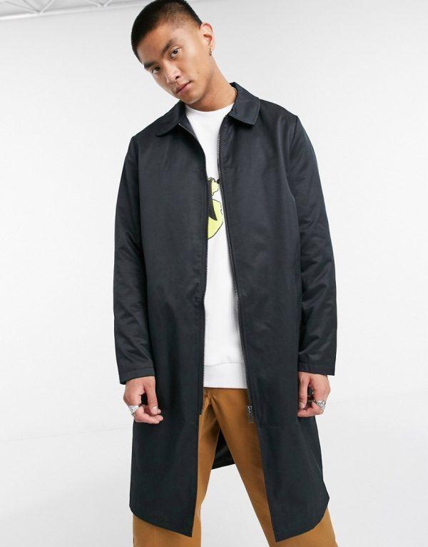 ASOS DESIGN oversized trench coat in black with zip