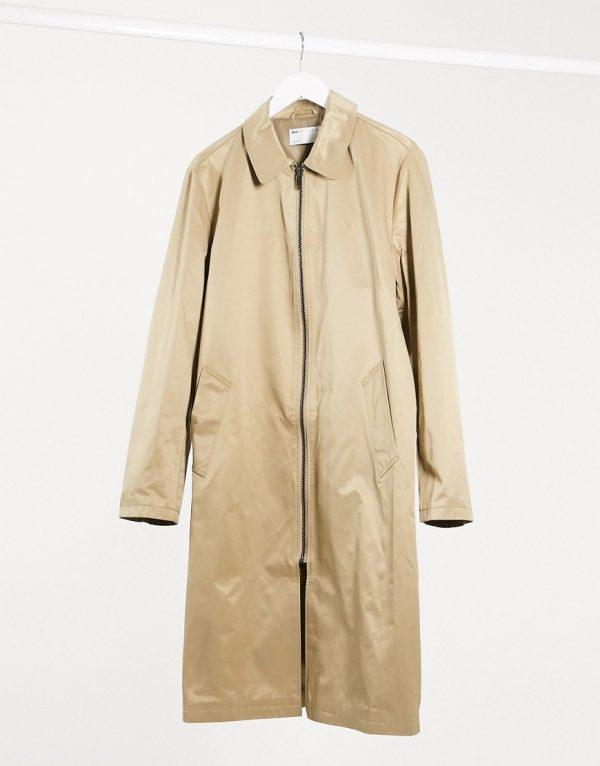 ASOS DESIGN oversized trench coat in stone with zip-Beige