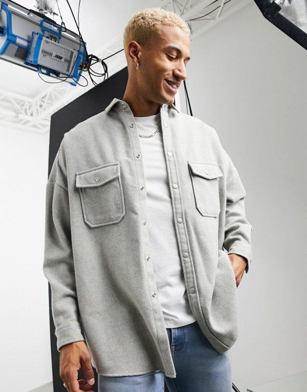 ASOS DESIGN oversized wool mix overshirt in light gray