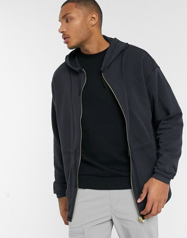 ASOS DESIGN oversized zip up hoodie with heavy wash & seam detailing-Black
