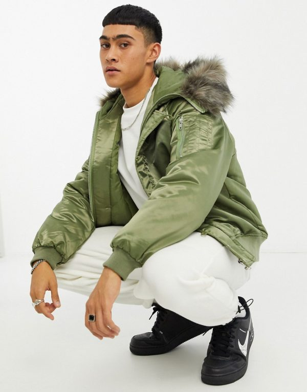 ASOS DESIGN padded bomber jacket with faux-fur hood in khaki-Green