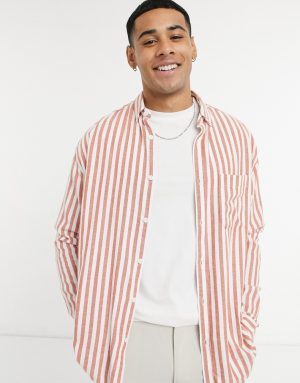 ASOS DESIGN peached cotton 90s oversized shirt in rust with narrow stripes-Orange