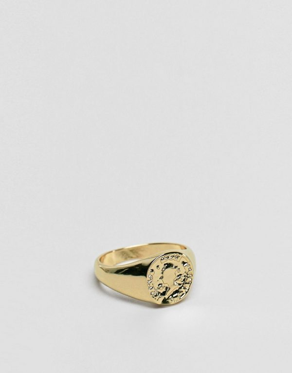 ASOS DESIGN pinky ring with coin in gold tone